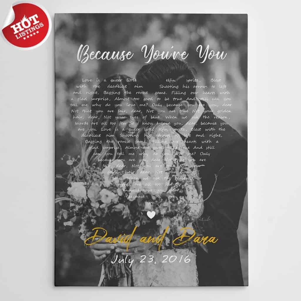 Black and White Song Lyrics on Photo Canvas Print – Vertical