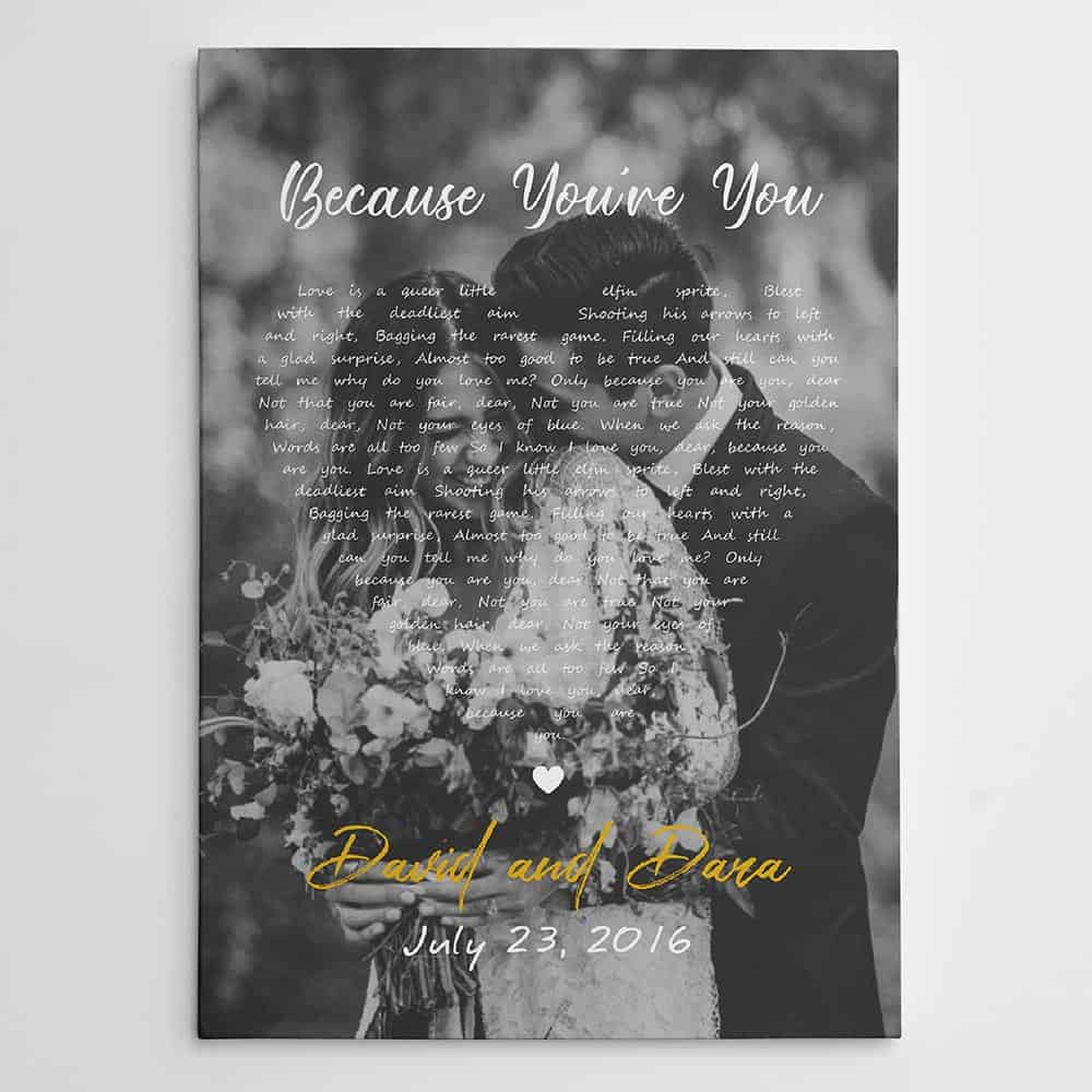 a black and white photo canvas print with song lyrics: 2nd anniversary gift for her
