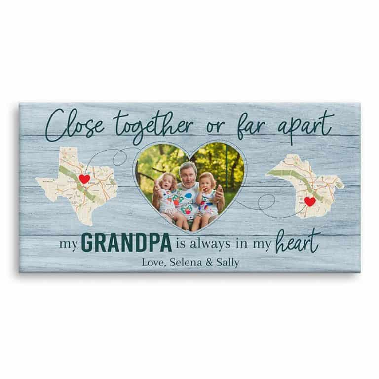 Close Together Or Far Apart, My Grandpa Is Always In My Heart – State Map Canvas Print