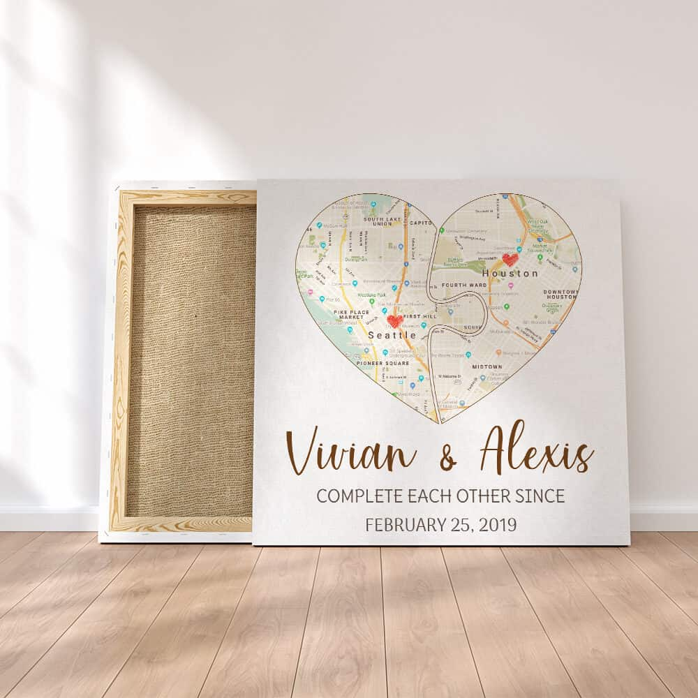 a map print gift for 1st year dating anniversary