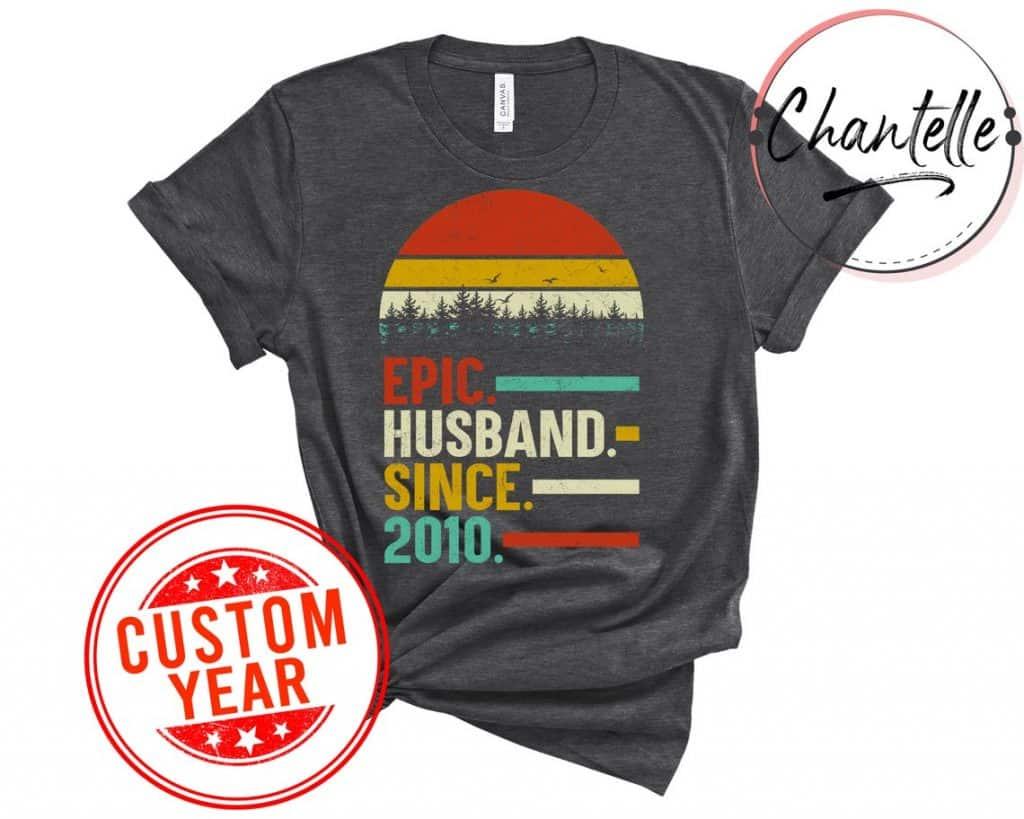 gifts for husband anniversary: custom anniversary t-shirt