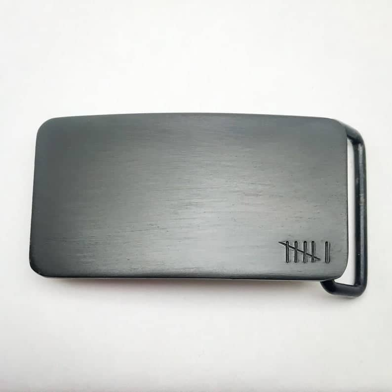 cool anniversary gifts for men: custom belt buckle