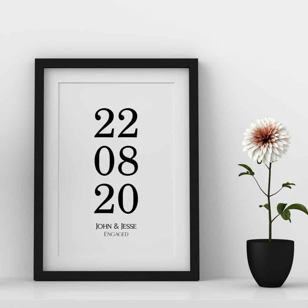 Custom Date And Name Anniversary Framed Print