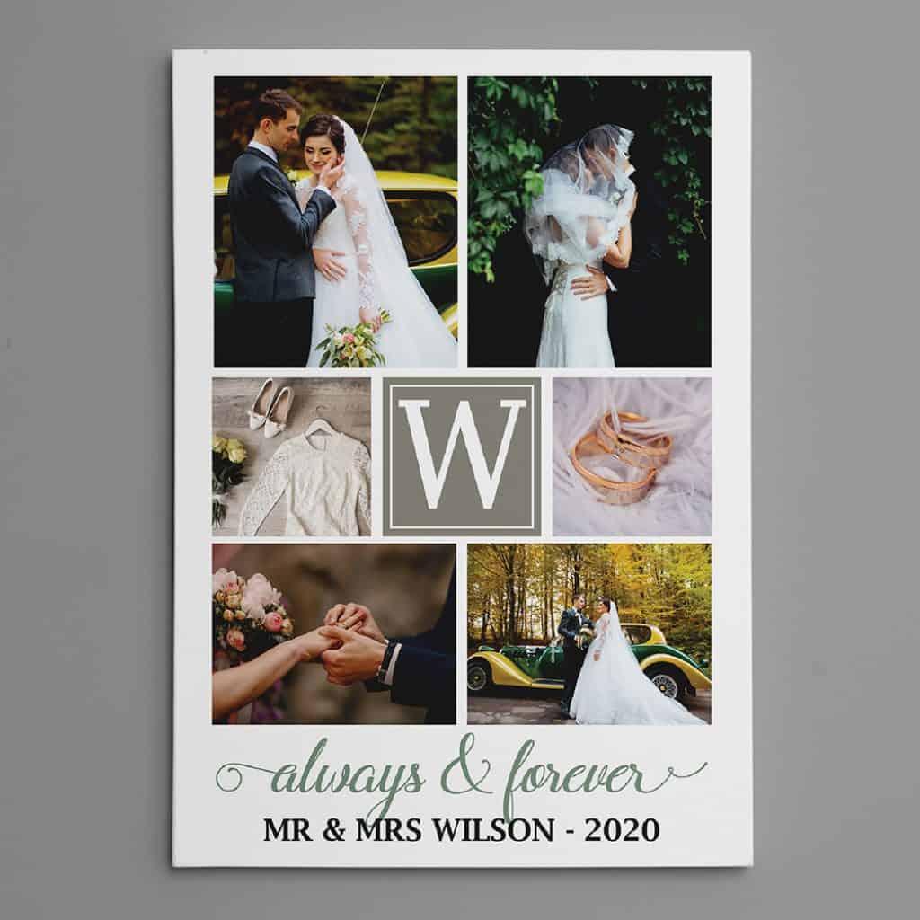 Always And Forever Custom Wedding Monogram Photo Collage Canvas