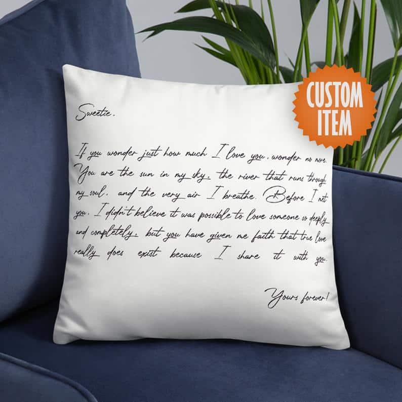 Custom Hug Pillow with Handwritten Letter