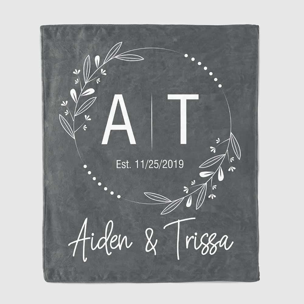 Couple's Initials Throw Blanket