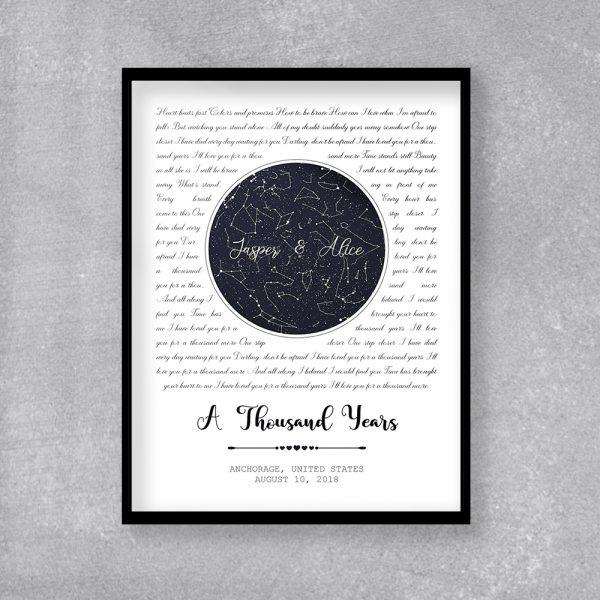 Custom Star Map And Song Lyrics Framed Print