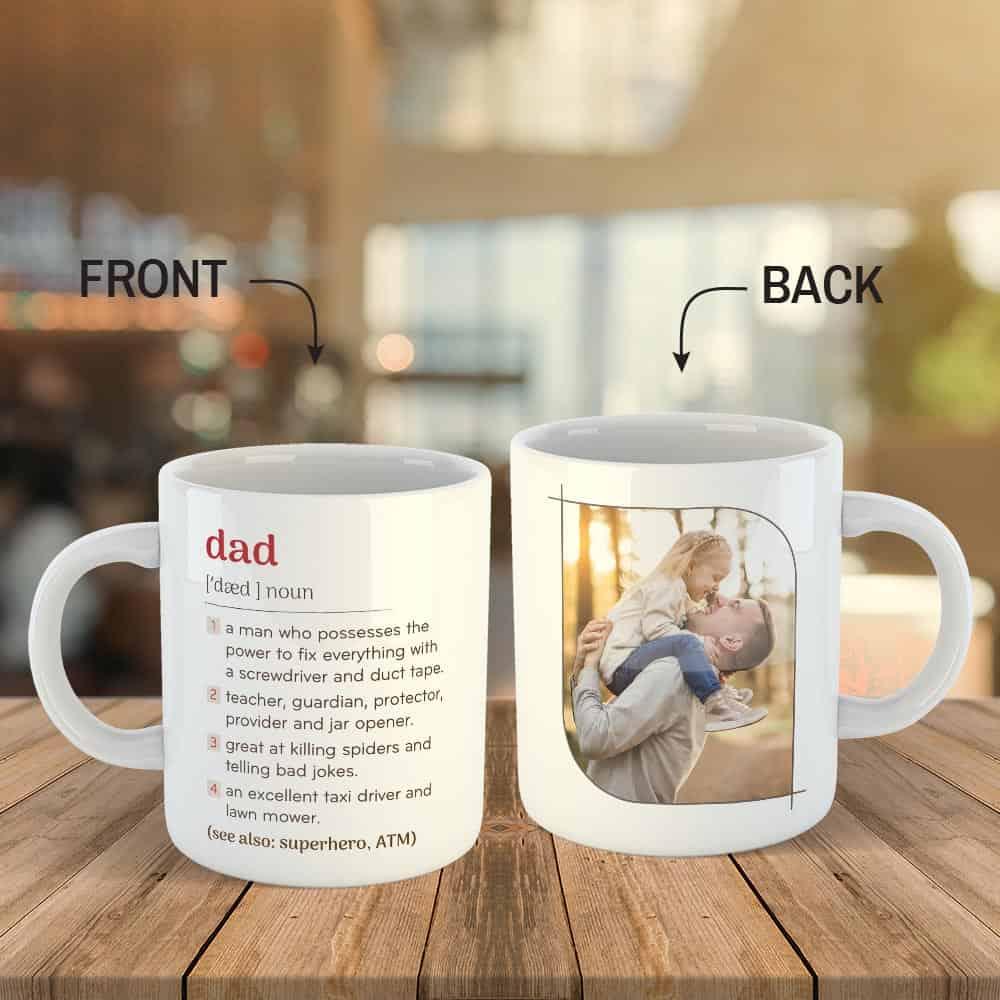 funny father's day gift: dad definition custom photo mug