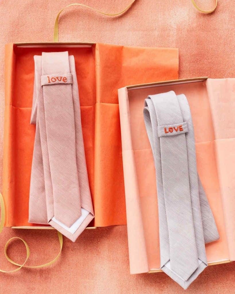 embroidered necktie with secret message