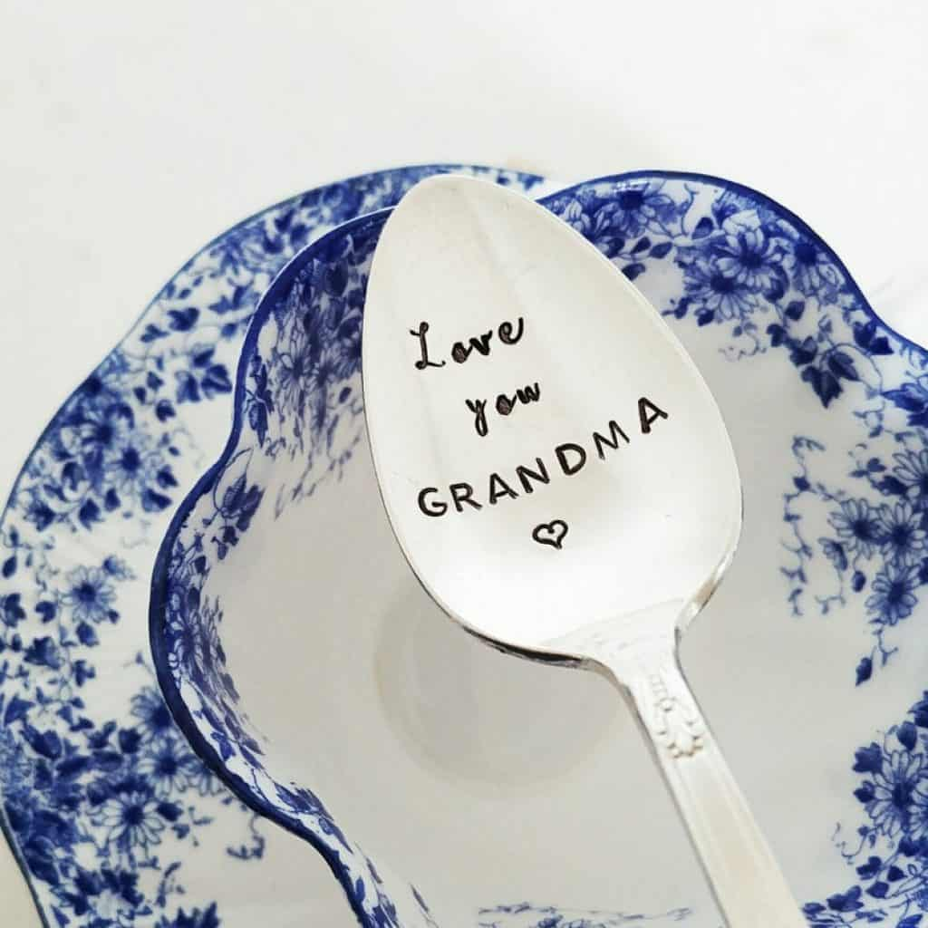 personalized grandmother gift: engraved coffee spoon