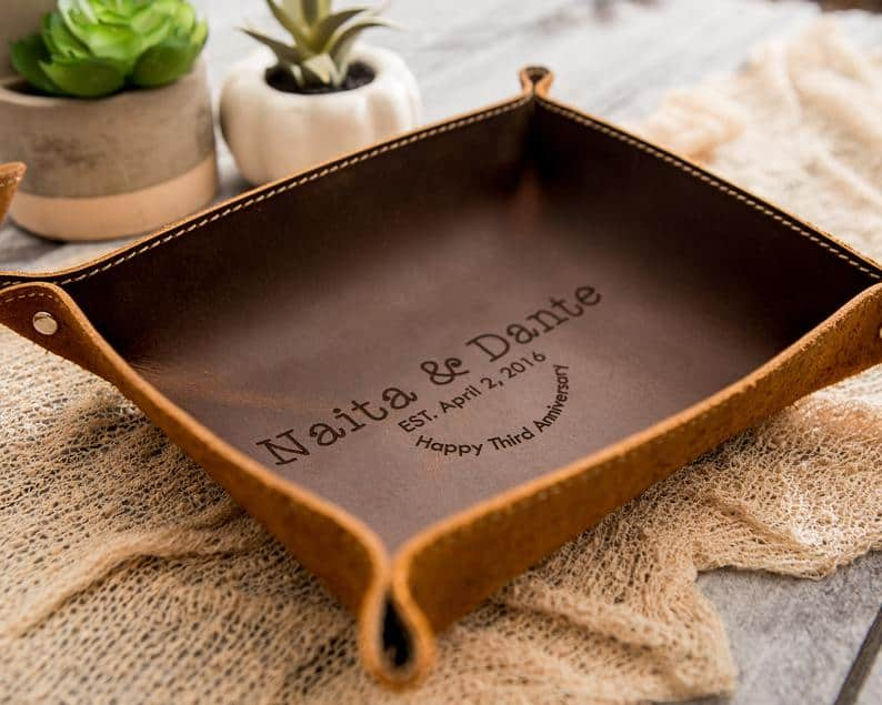 unique anniversary gifts for him: custom valet tray