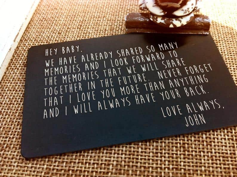 personalized anniversary gift for him: engraved wallet card