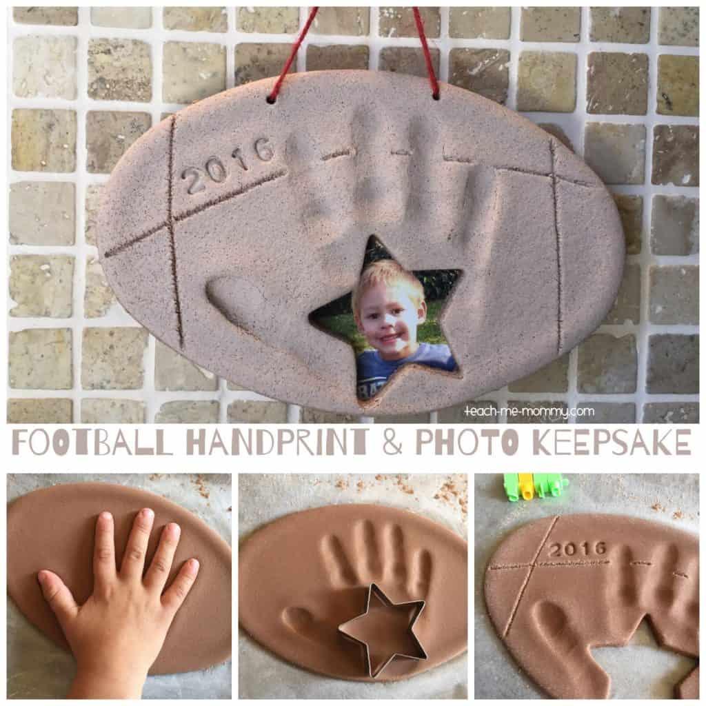 father's day diy gifts: football handprint and photo salt dough keepsake