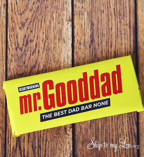 quick fathers day craft ideas: printable mr.gooddad candy bar wrapper