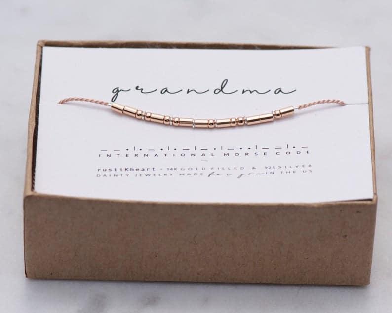 gifts for first time grandma: grandma morse code bracelet
