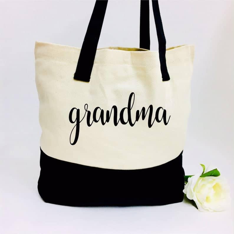 gift for grandmas: grandma canvas tote bag