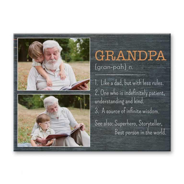 Grandpa Definition Custom Photo Canvas Print – Gift for Grandpa