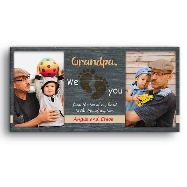Grandpa We Love You Custom Photo Canvas Print
