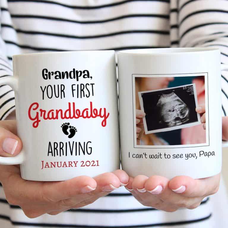 Grandpa Your First Grandbaby Arriving Custom Photo Mug