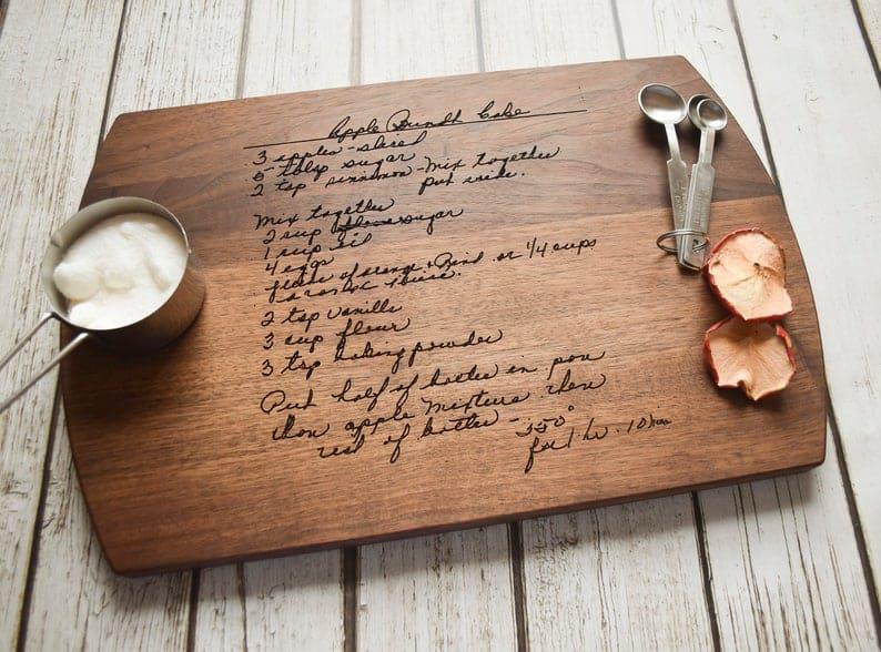 personalized grandmother gift: handwritten recipe cutting board