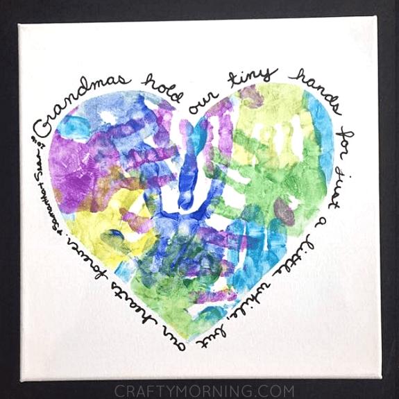 diy paintings for grandma: heart handprint canvas