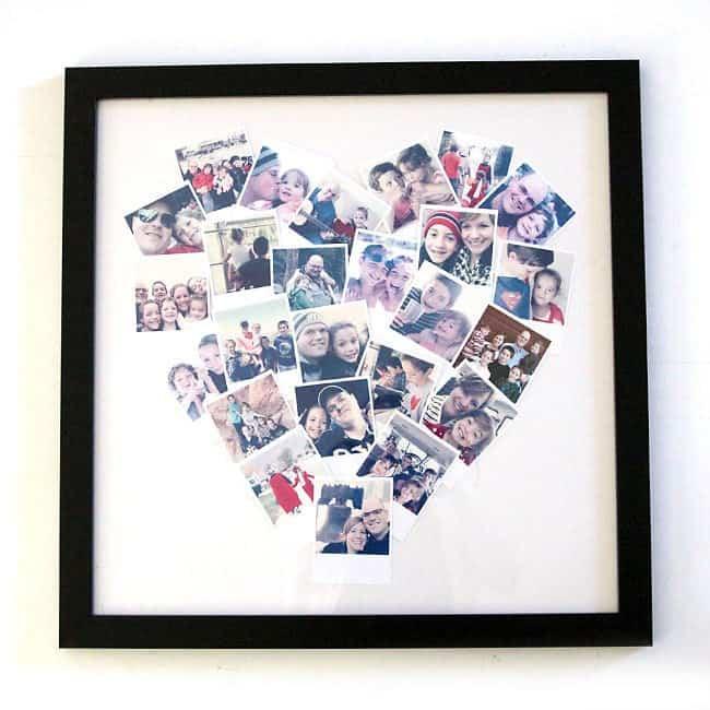 homemade gifts for grandma: heart photo display