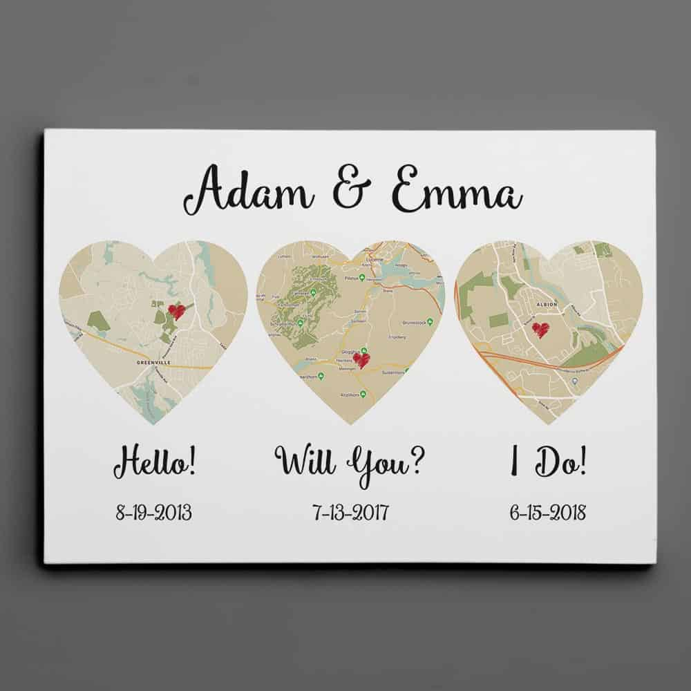 hello will you i do map canvas print as 2nd anniversary gift