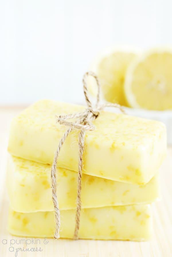 diy grandma gifts: homemade lemon soap bars