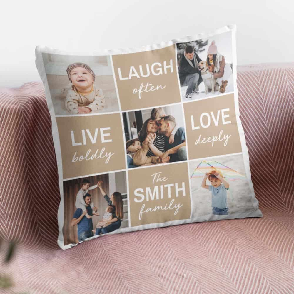 laugh often live boldly love deeply custom family photo pillow fathers day gifts