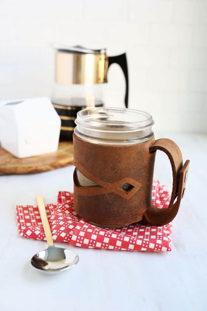 mason jar sleeve made of leather