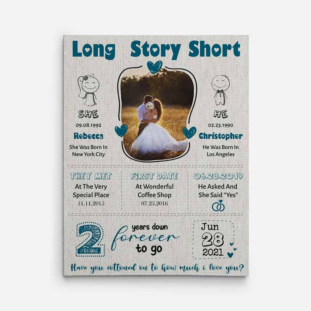long story short 2nd anniversary canvas print