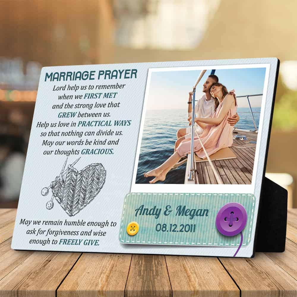 a desktop photo plaque with a marriage prayer