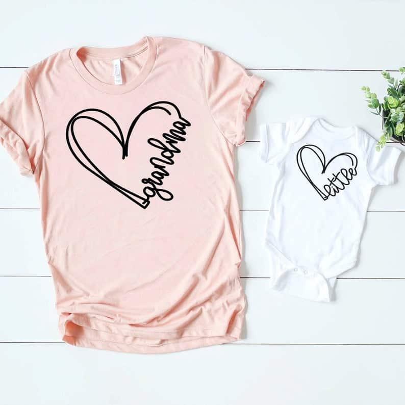 gift ideas for first time grandma: matching grandma & grandchild shirt