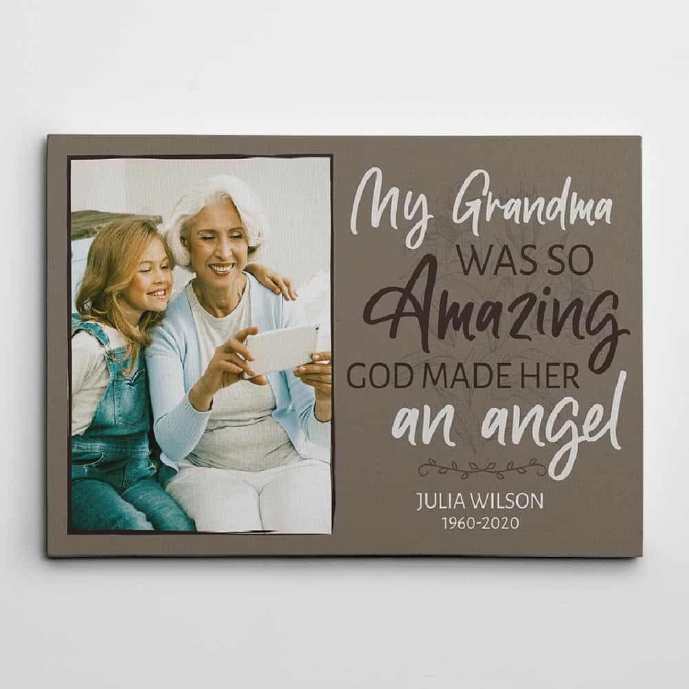 Memorial Photo Canvas Print For The Loss Of Grandma