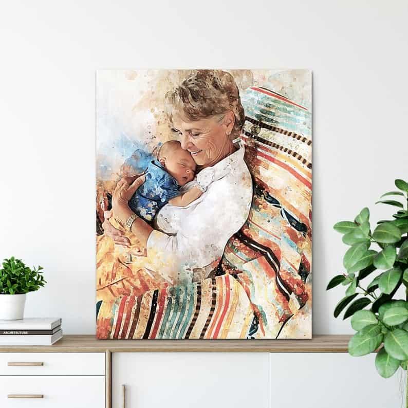 gift for new grandma: new grandma portrait print