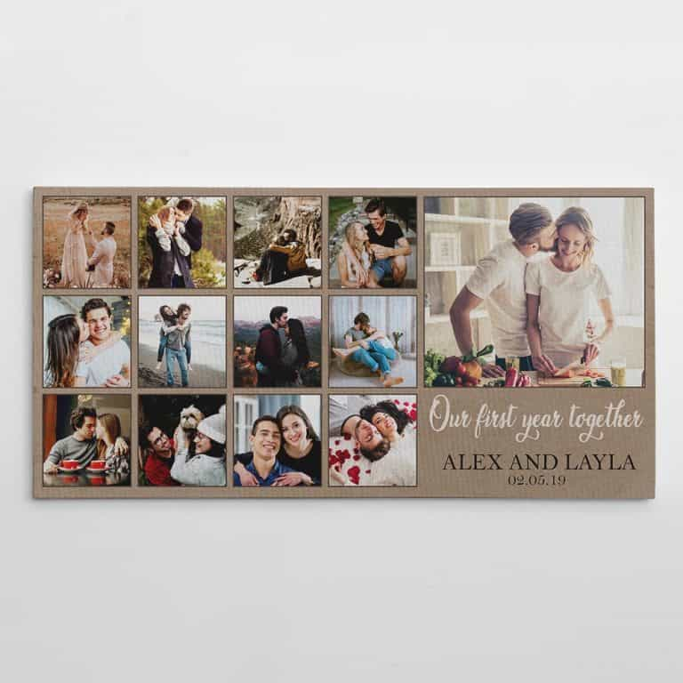 Our First Year Together Newlywed Custom Photo Collage Canvas Print