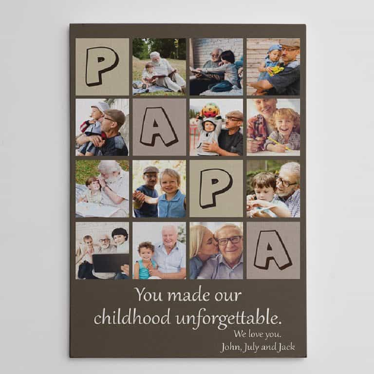 Papa You Made Our Childhood Unforgettable Collage Canvas Print