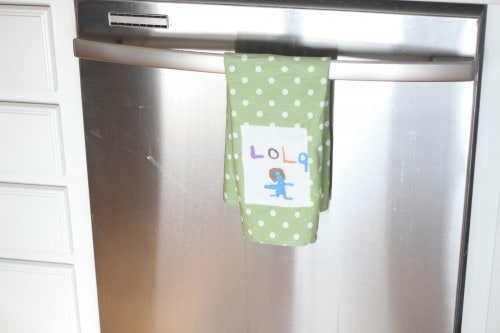 mother day gifts from grandchildren: tea towel with kids drawings