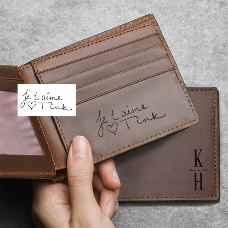 husbands anniversary gift: personalized handwriting wallet
