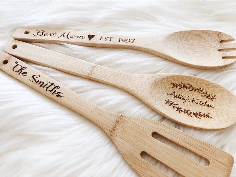 personalized gift for nana: engraved wooden kitchen utensils
