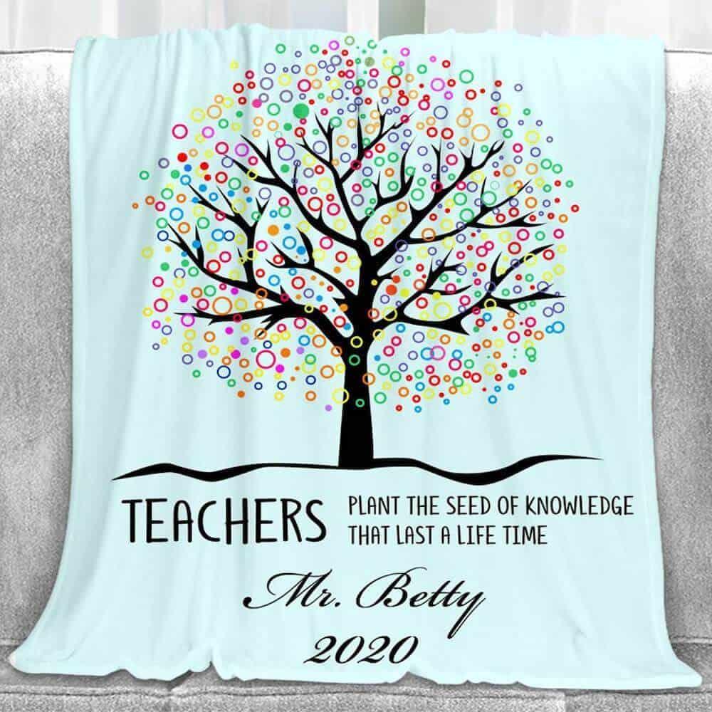 personalized teacher blanket appreciation gift for teacher