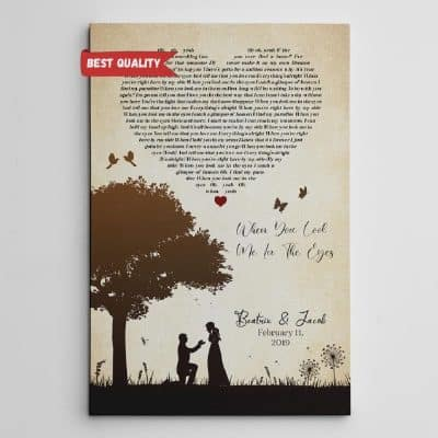 customized song lyrics canvas print with silhouettes of couple and tree