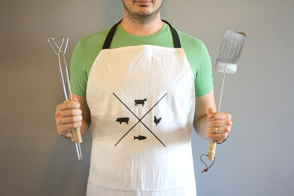 diy grilling stenciled apron for men