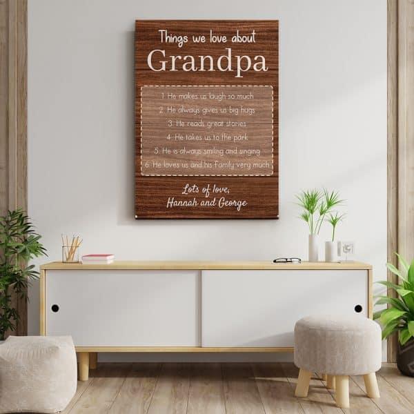Things We Love About Grandpa Custom Canvas Print