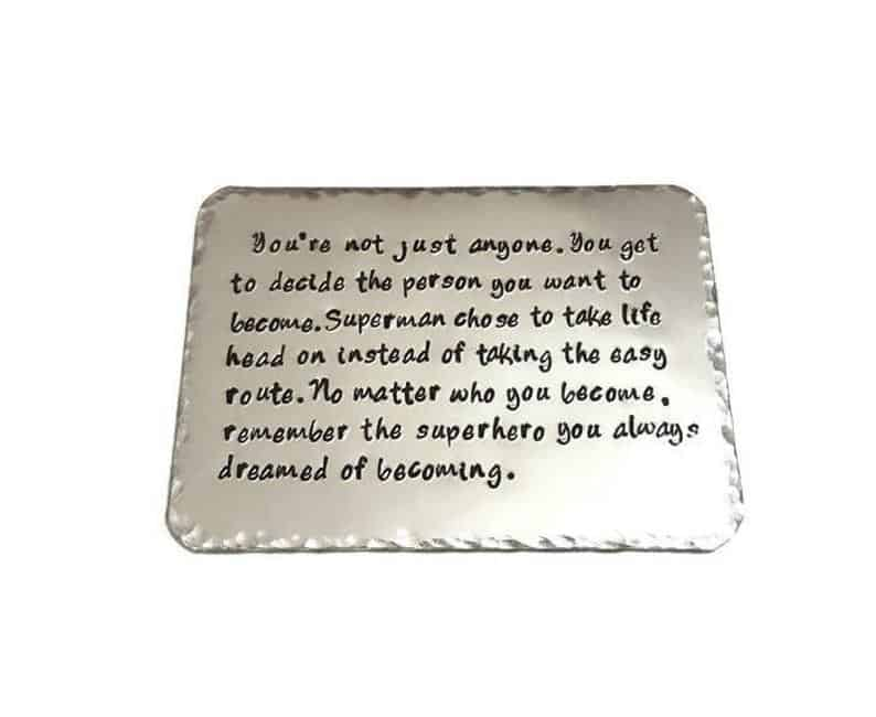 engraved wallet card made of tin