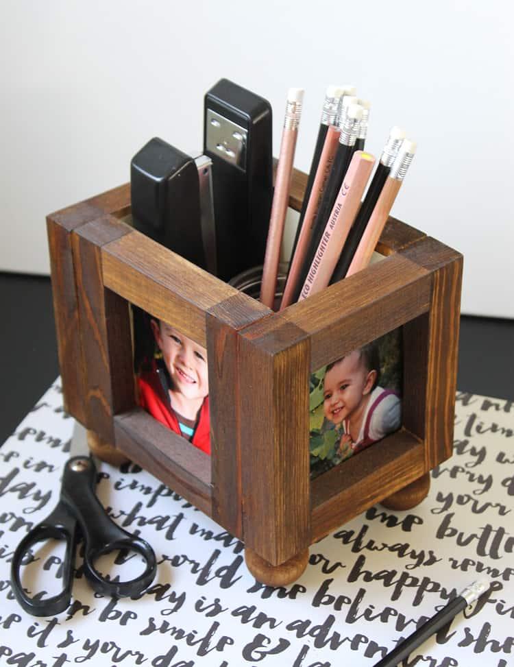 wooden photo frame desk organizer