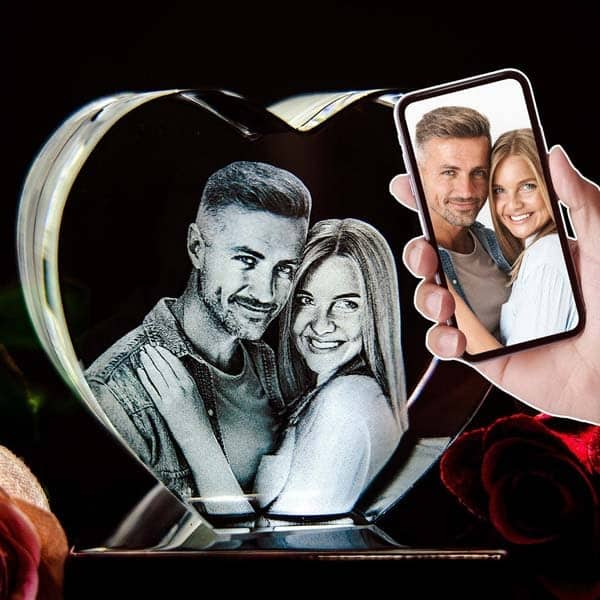 creative gifts for boyfriend: 3D Photo Crystal Heart
