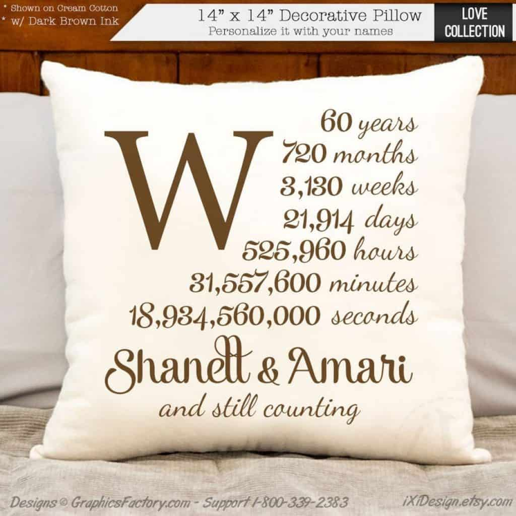 Pillow Cover - 60th anniversary gift