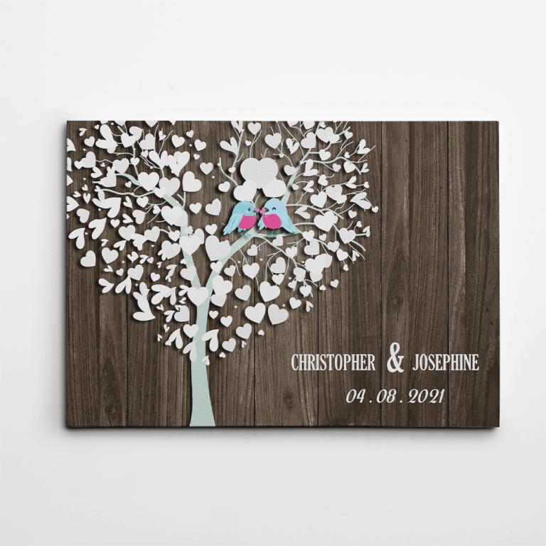 Family Tree and Birds Custom Canvas Print