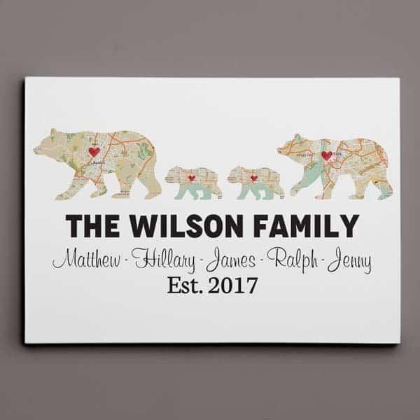Bear Family Map Wall art